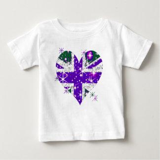 UK Flag sparkly heart kids Tee Shirts