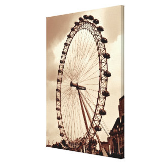 (UK) London Eye Vintage Wrapped Canvas Gallery Wrap Canvas