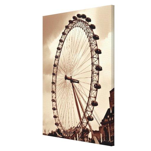 (UK) London Eye Vintage Wrapped Canvas Stretched Canvas Prints