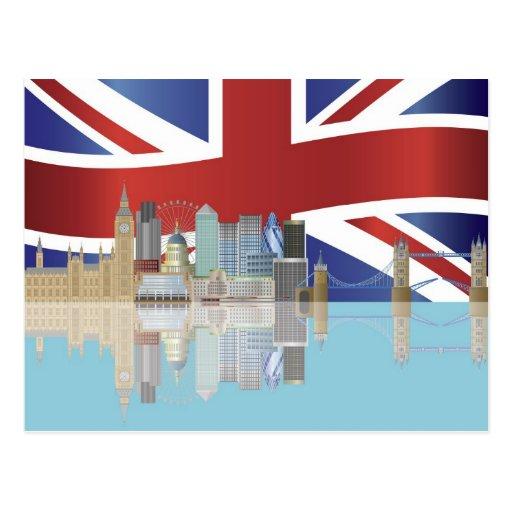 UK London Skyline with Union Jack Flag Postcard