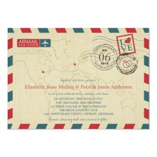 UK / Michigan USA Airmail | Wedding 13 Cm X 18 Cm Invitation Card