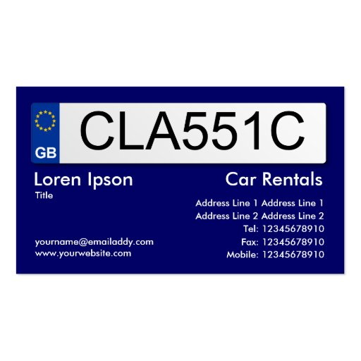 UK Number Plate - Dark Blue II Business Card Template