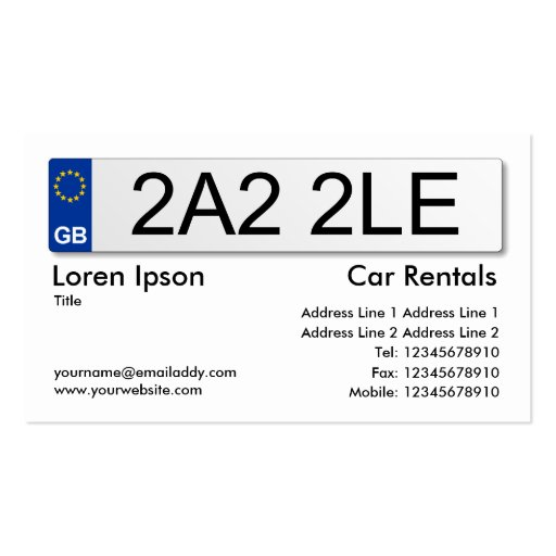 Uk number plate white business card zazzle for Uk business cards