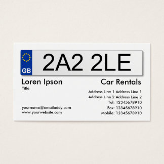 UK Number Plate - White Business Card
