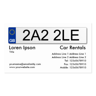 UK Number Plate - White Pack Of Standard Business Cards
