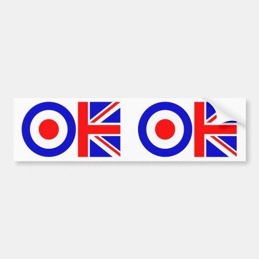 UK OK Union Jack Target Pop Art Bumper Sticker