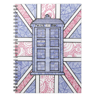 UK Police Box Union Jack Hand Illustrated Line Art Notebooks