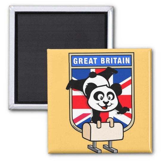 UK Pommel Horse Panda Square Magnet