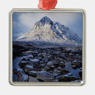 UK,Scotland,Highlands,Buchaille Etive Mor Silver-Colored Square Decoration