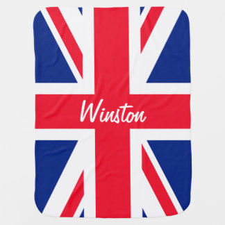 UK Union Jack British Flag Personalized Baby Blanket