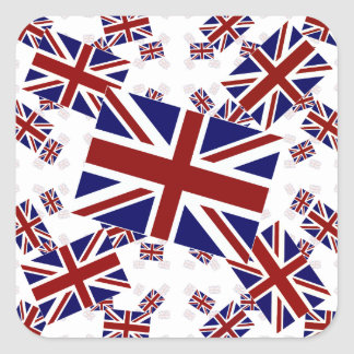 UK Union Jack Flag in Layers Askew Square Sticker
