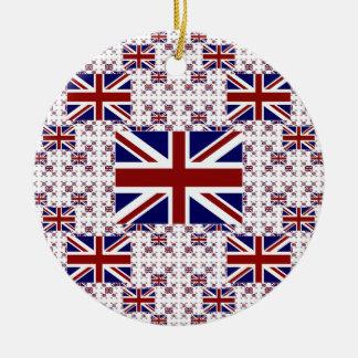 UK Union Jack Flag in Layers Round Ceramic Decoration