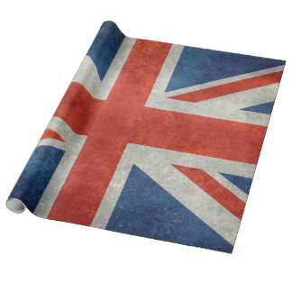 UK Union Jack Flag in retro style vintage textures Wrapping Paper