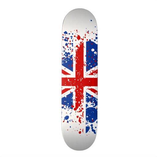 UK Union Jack Splash Colors Flag Skateboard