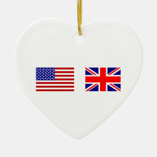 UK & USA Flags Side by Side Ceramic Heart Decoration