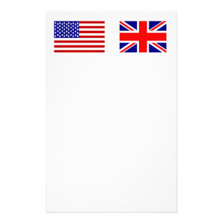 UK & USA Flags Side by Side Custom Stationery