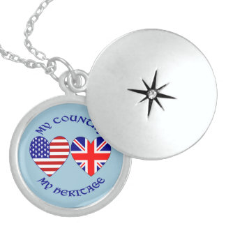 UK USA My Country My Heritage Sterling Silver Necklace