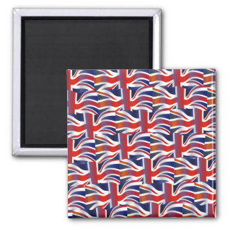 Uk Wavy Flag Wallpaper Square Magnet