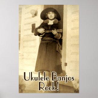 Uke Banjos Rock Poster
