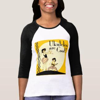 Ukes are Cool Ladies 3 4 Sleeve Raglan T Shirts