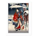 Ukiyo-e snowy landscape triptych #3 postcards