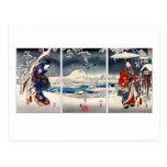 Ukiyo-e snowy landscape triptych postcards