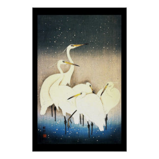 Ukiyo-e Woodblock Art - Animals - Egrets Posters