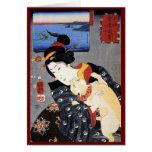 Ukiyo-e Woodblock Art - Geisha & Cat