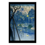 Ukiyo-e Woodblock Art - Serene Park at Night Poster