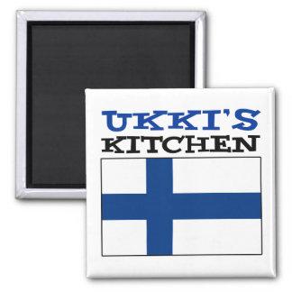 Ukki's Kitchen With Flag Of Finland Magnet