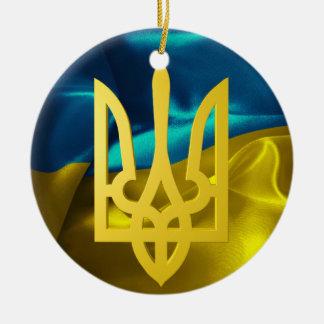 Ukraine 3D Flag and Tryzub Christmas Ornament
