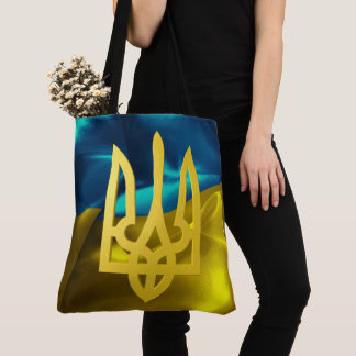 Ukraine 3D Flag and Tryzub Tote Bag