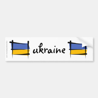 Ukraine Brush Flag Bumper Sticker