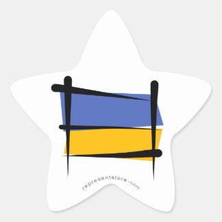 Ukraine Brush Flag Star Sticker