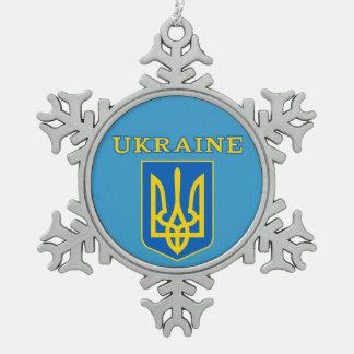 Ukraine coat of arms snowflake pewter christmas ornament