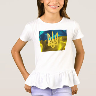 Ukraine Flag and Tryzub Girls' Ruffle Shirt