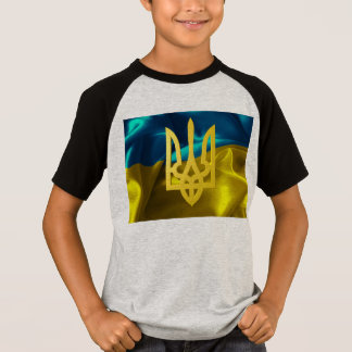 Ukraine Flag and Tryzub Kids' Raglan Shirt