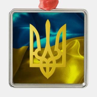Ukraine Flag and Tryzub Metal Christmas Ornament