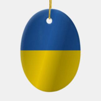 Ukraine flag ceramic oval decoration
