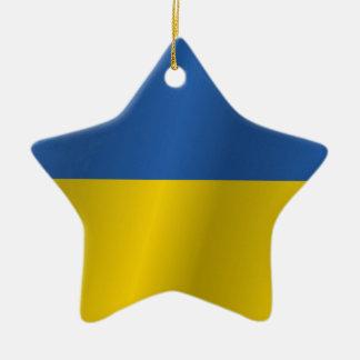 Ukraine flag ceramic star decoration