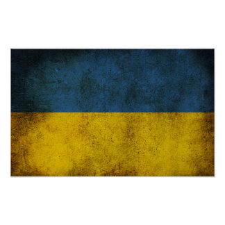 Ukraine Flag (Grunge) Poster
