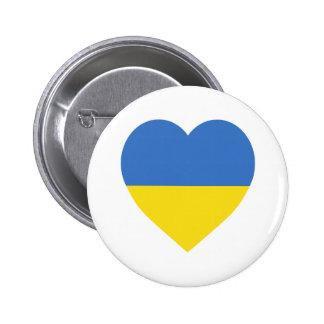 Ukraine Flag Heart 6 Cm Round Badge