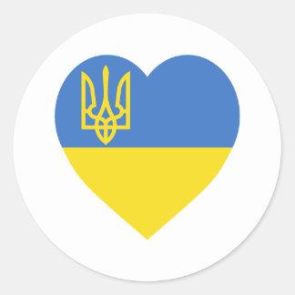 Ukraine Flag Heart Classic Round Sticker