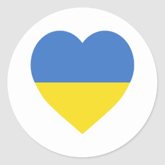 Ukraine Flag Heart Classic Round Sticker