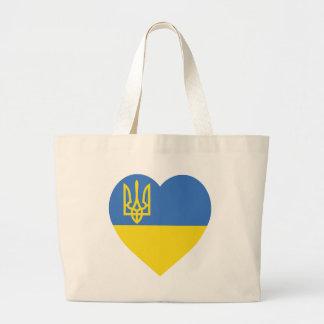 Ukraine Flag Heart Large Tote Bag