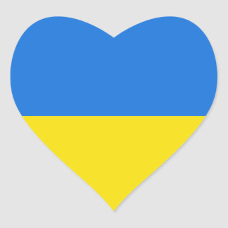 Ukraine Flag Heart Sticker