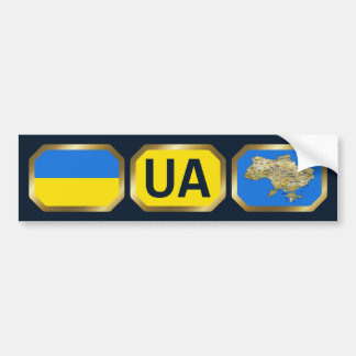 Ukraine Flag Map Code Bumper Sticker