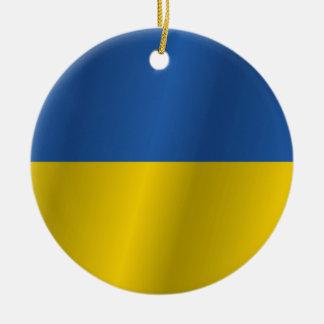 Ukraine flag round ceramic decoration