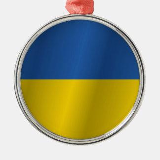 Ukraine flag Silver-Colored round decoration