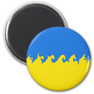 Ukraine Gnarly Flag 6 Cm Round Magnet